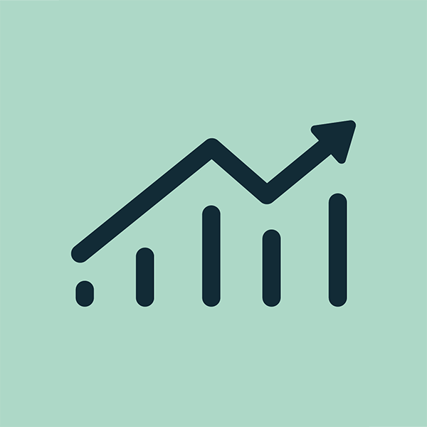 Green and blue bar chart icon representing testing