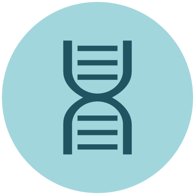 Biochemistry icon showing blue DNA symbol