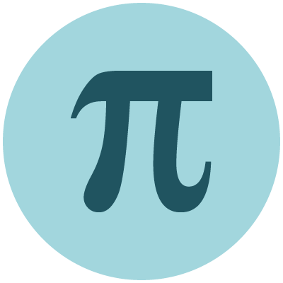 Blue calculus icon showing pi sign