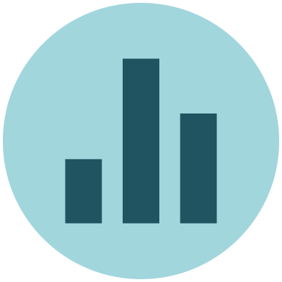 Economics icon showing a blue bar chart