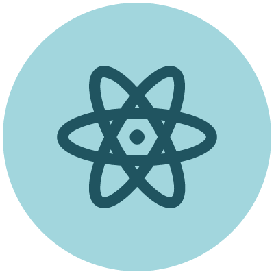 Physics icon showing blue atom
