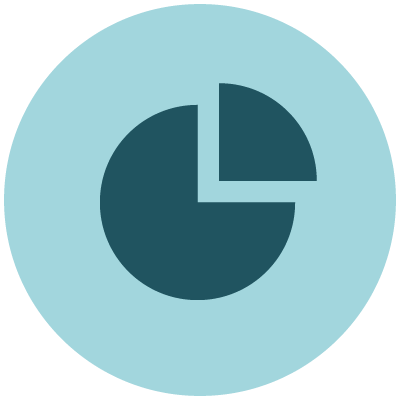 Statistics icon showing blue pie chart
